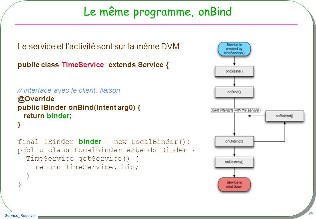 Service_Receiver 24 Le même programme, onBind Le service et lactivité sont sur la même DVM public class TimeService extends Service { // interface ave