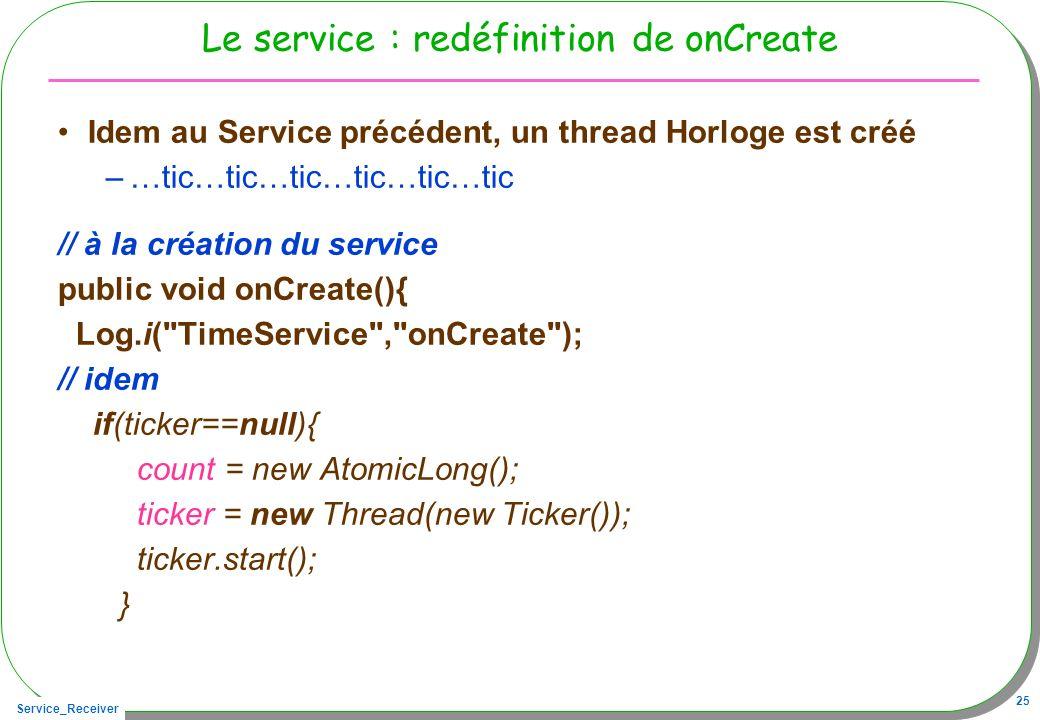 Service_Receiver 25 Le service : redéfinition de onCreate Idem au Service précédent, un thread Horloge est créé –…tic…tic…tic…tic…tic…tic // à la créa