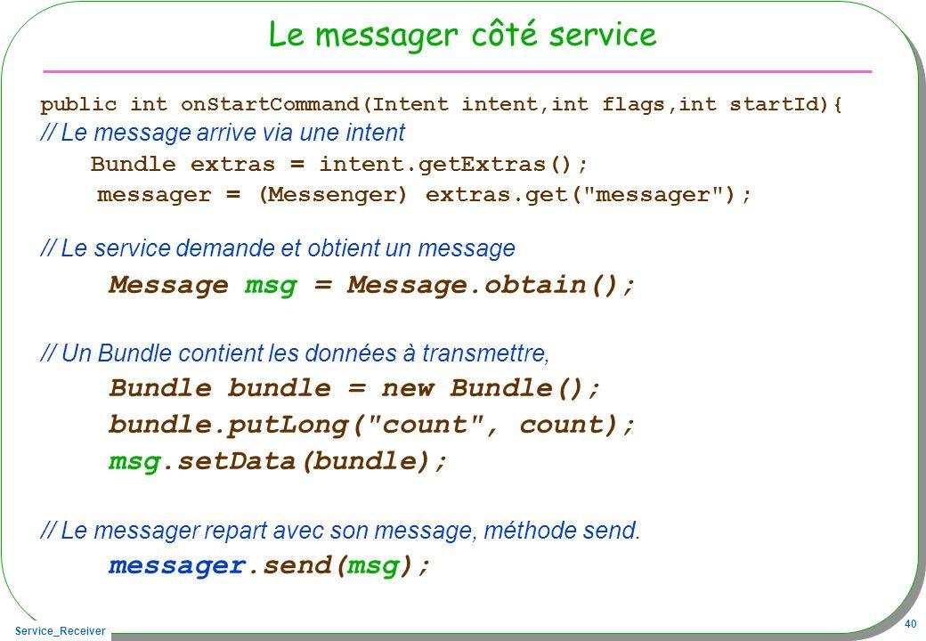 Service_Receiver 40 Le messager côté service public int onStartCommand(Intent intent,int flags,int startId){ // Le message arrive via une intent Bundl