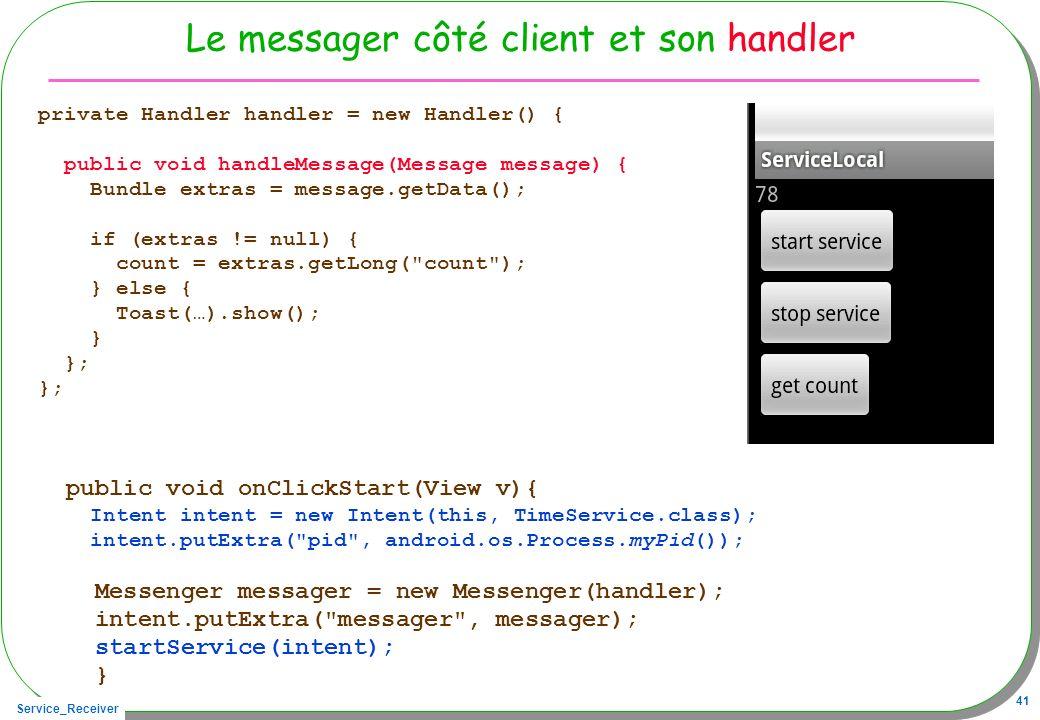 Service_Receiver 41 Le messager côté client et son handler private Handler handler = new Handler() { public void handleMessage(Message message) { Bund