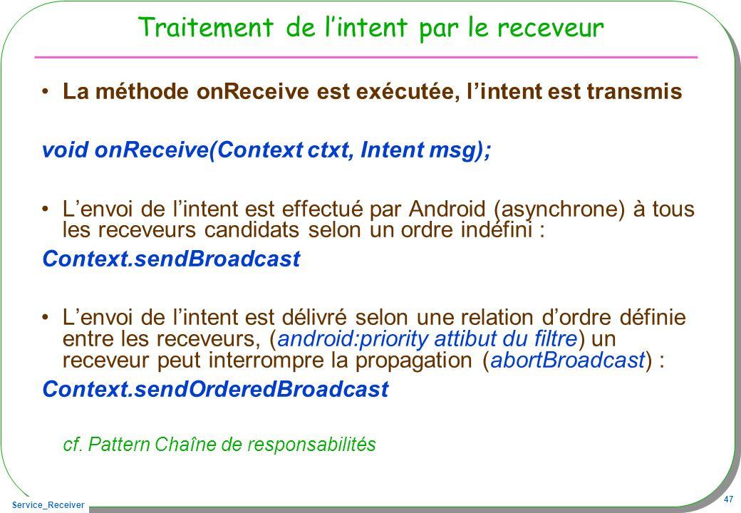 Service_Receiver 47 Traitement de lintent par le receveur La méthode onReceive est exécutée, lintent est transmis void onReceive(Context ctxt, Intent