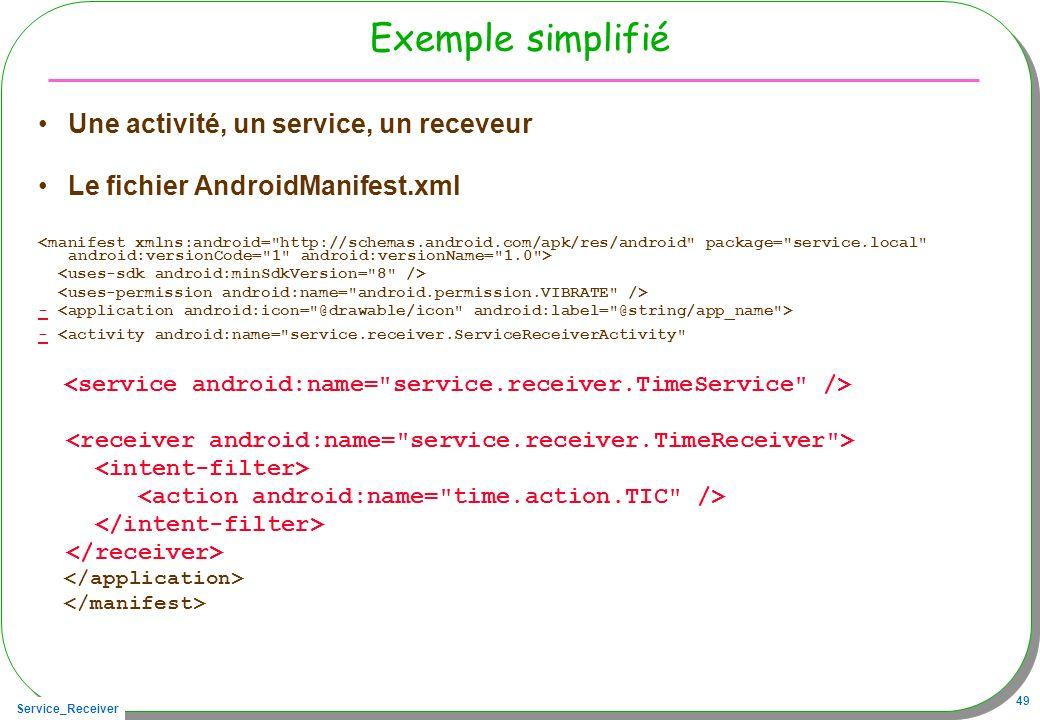 Service_Receiver 49 Exemple simplifié Une activité, un service, un receveur Le fichier AndroidManifest.xml - - <activity android:name=