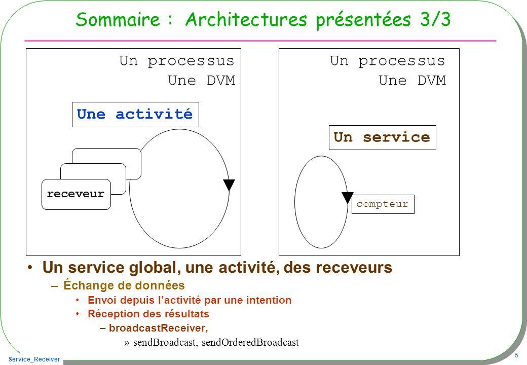 Service_Receiver 66 Lactivité cliente du service public class ServiceSMSReceivedActivity extends Activity { private SMSServiceI service; private ConnexionAuServiceSMS connexion; public void onClickStart(View v){ if(!connecte){ // identification du service Intent serviceIntent = new Intent(); serviceIntent.setClassName( seja.android , seja.android.SMSService ); // connexion avec le service this.connexion = new ConnexionAuServiceSMS(); // connexion sera déclenchée par lintergiciel (asynchrone) bindService(serviceIntent, connexion, Context.BIND_AUTO_CREATE); connecte = true; start.setEnabled(false); stop.setEnabled(true); }}