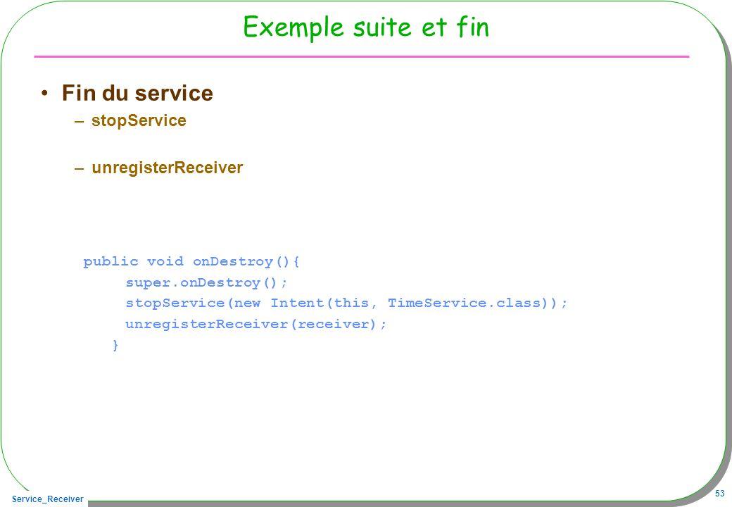 Service_Receiver 53 Exemple suite et fin Fin du service –stopService –unregisterReceiver public void onDestroy(){ super.onDestroy(); stopService(new I