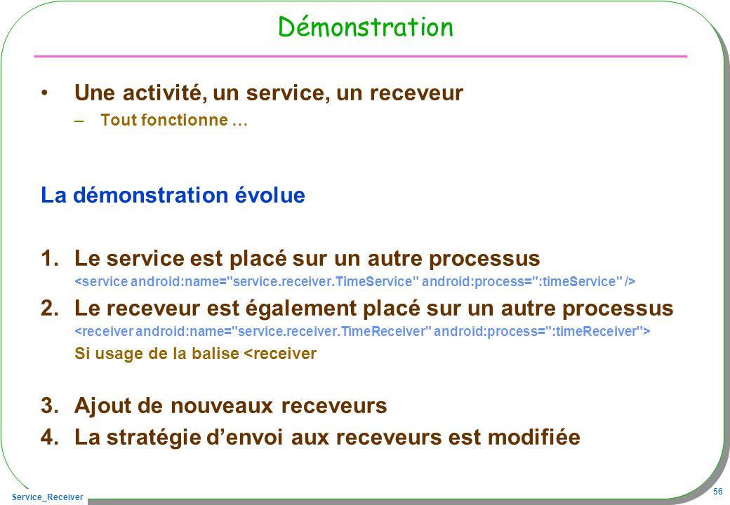 Service_Receiver 56 Démonstration Une activité, un service, un receveur –Tout fonctionne … La démonstration évolue 1.Le service est placé sur un autre