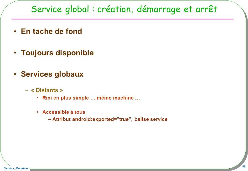 Service_Receiver 58 Service global : création, démarrage et arrêt En tache de fond Toujours disponible Services globaux –« Distants » Rmi en plus simp