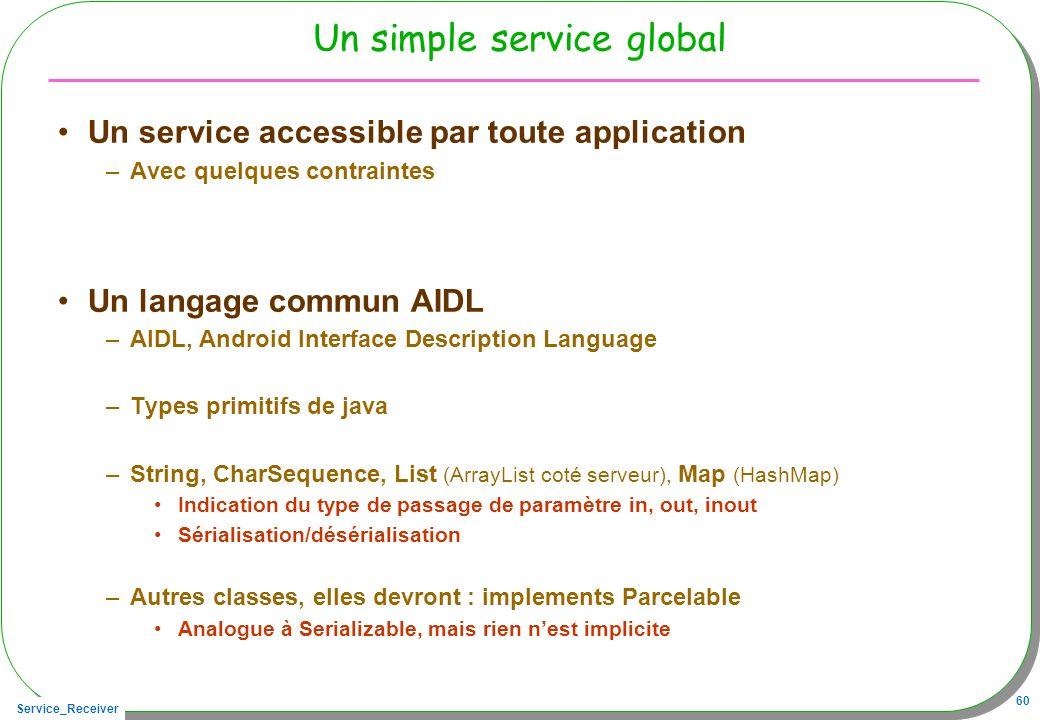 Service_Receiver 60 Un simple service global Un service accessible par toute application –Avec quelques contraintes Un langage commun AIDL –AIDL, Andr