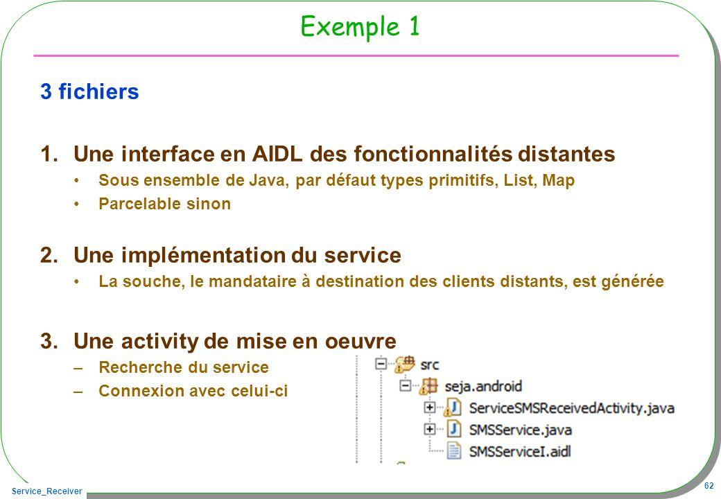 Service_Receiver 62 Exemple 1 3 fichiers 1.Une interface en AIDL des fonctionnalités distantes Sous ensemble de Java, par défaut types primitifs, List