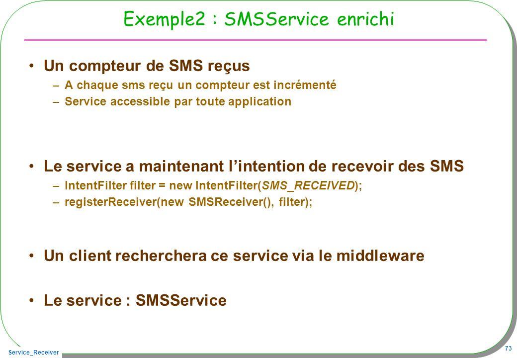 Service_Receiver 73 Exemple2 : SMSService enrichi Un compteur de SMS reçus –A chaque sms reçu un compteur est incrémenté –Service accessible par toute