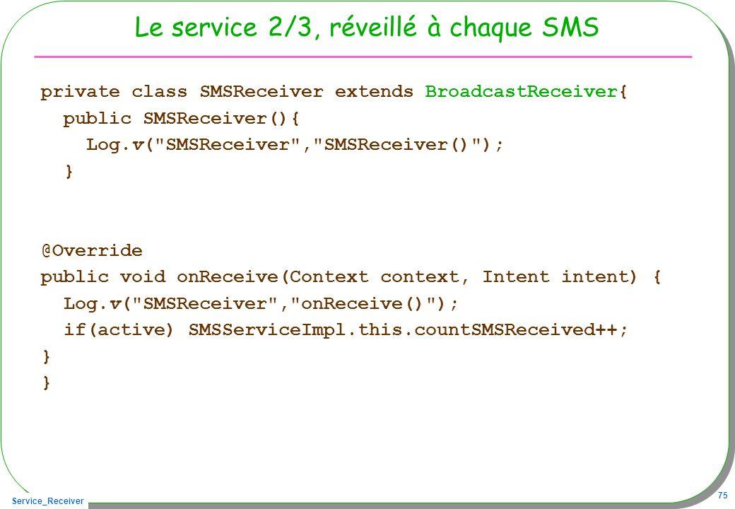 Service_Receiver 75 Le service 2/3, réveillé à chaque SMS private class SMSReceiver extends BroadcastReceiver{ public SMSReceiver(){ Log.v(