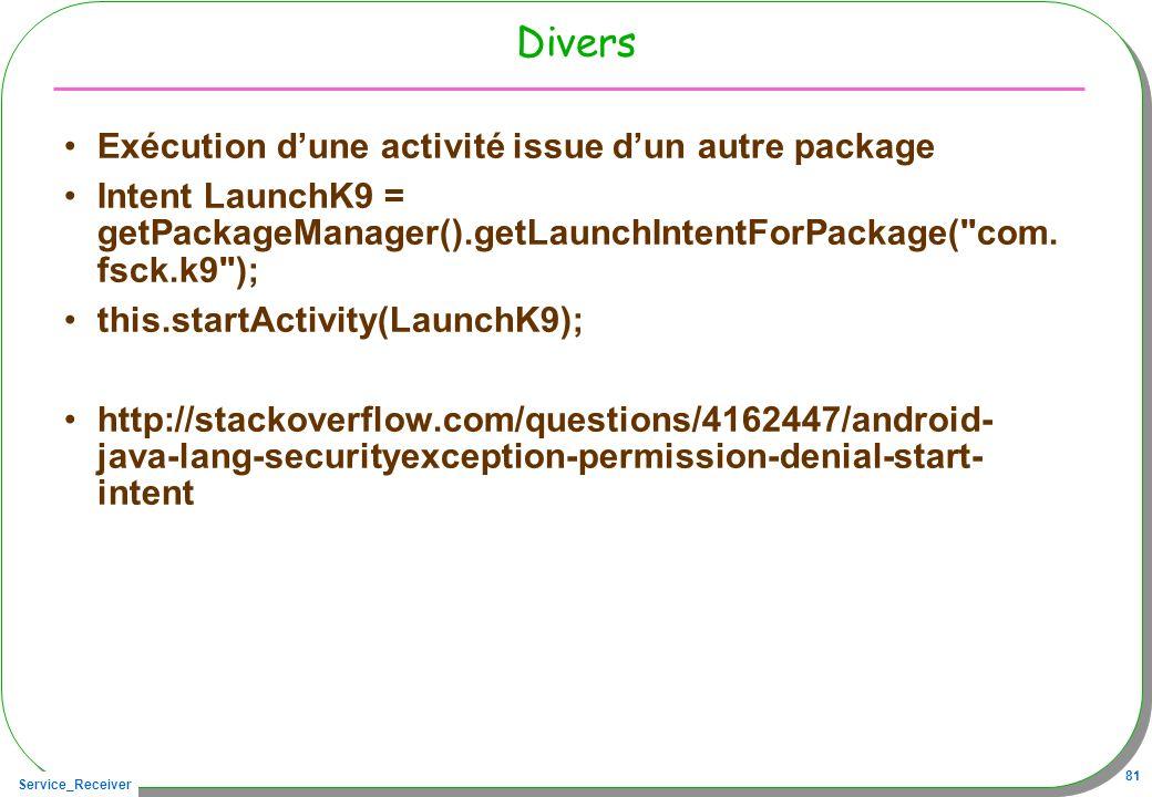 Service_Receiver 81 Divers Exécution dune activité issue dun autre package Intent LaunchK9 = getPackageManager().getLaunchIntentForPackage(