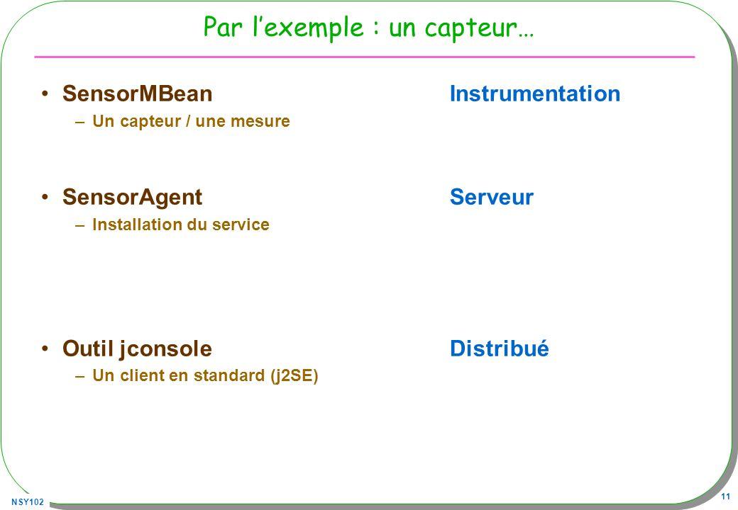 NSY102 11 Par lexemple : un capteur… SensorMBeanInstrumentation –Un capteur / une mesure SensorAgentServeur –Installation du service Outil jconsoleDistribué –Un client en standard (j2SE)