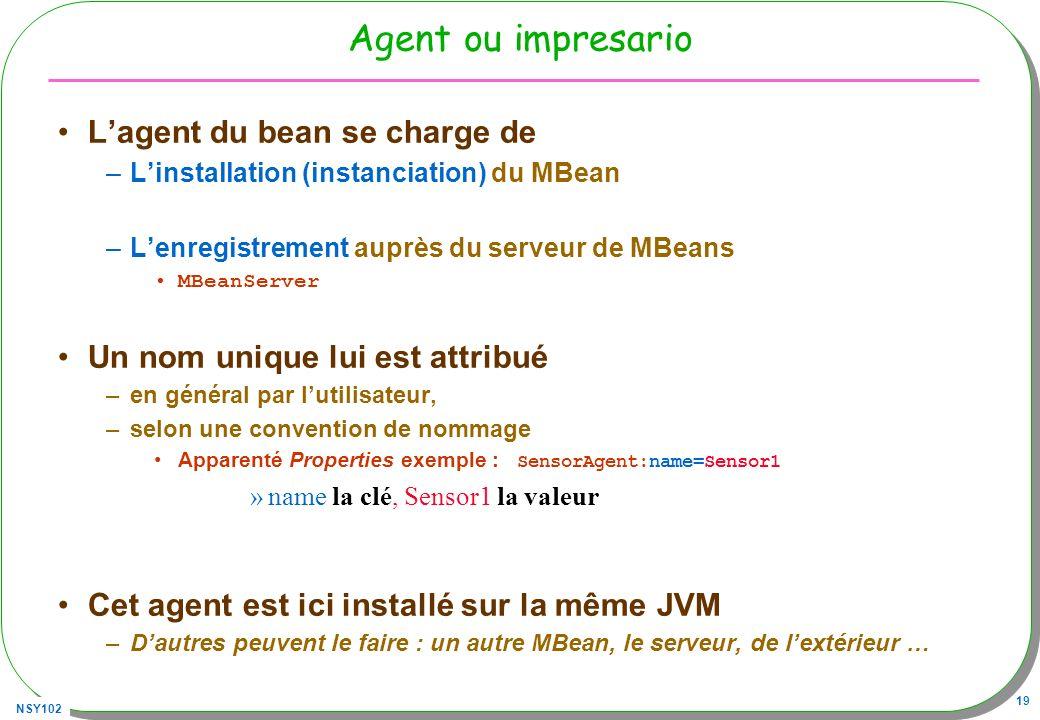 NSY102 19 Agent ou impresario Lagent du bean se charge de –Linstallation (instanciation) du MBean –Lenregistrement auprès du serveur de MBeans MBeanServer Un nom unique lui est attribué –en général par lutilisateur, –selon une convention de nommage Apparenté Properties exemple : SensorAgent:name=Sensor1 »name la clé, Sensor1 la valeur Cet agent est ici installé sur la même JVM –Dautres peuvent le faire : un autre MBean, le serveur, de lextérieur …
