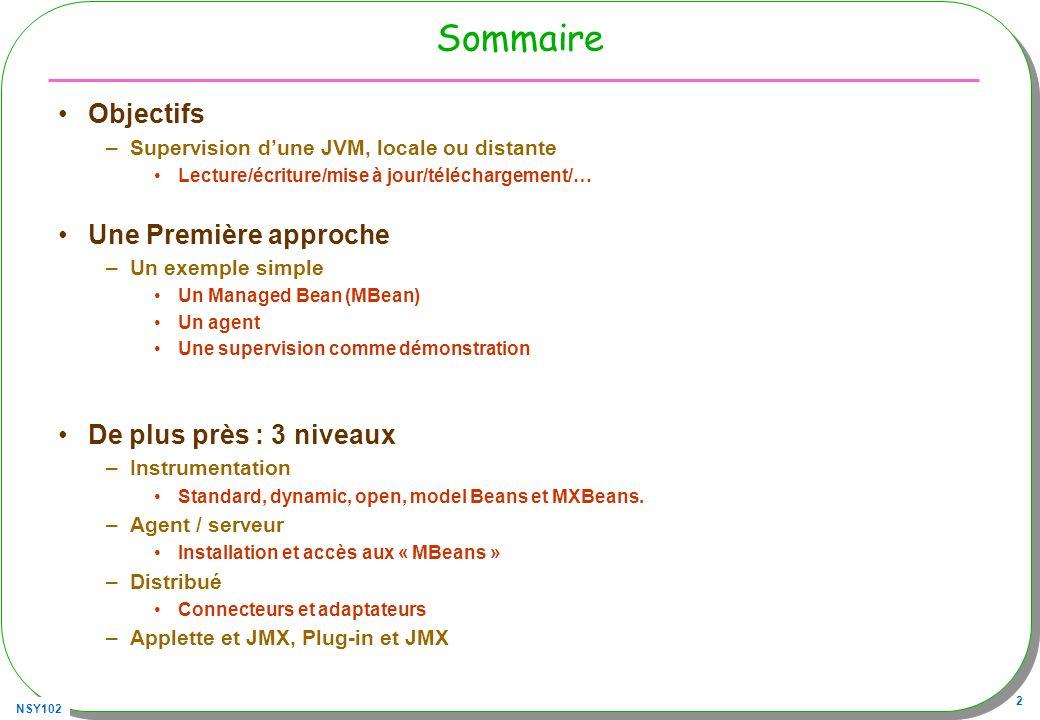 NSY102 23 Distribué : jconsole Accès à lune des JVM, –Déjà équipée de son MBeanServer* SensorAgent (ici numérotation PID « windows ») Les PID des JVM : console> jps * Plusieurs MBeanServer Peuvent co-exister