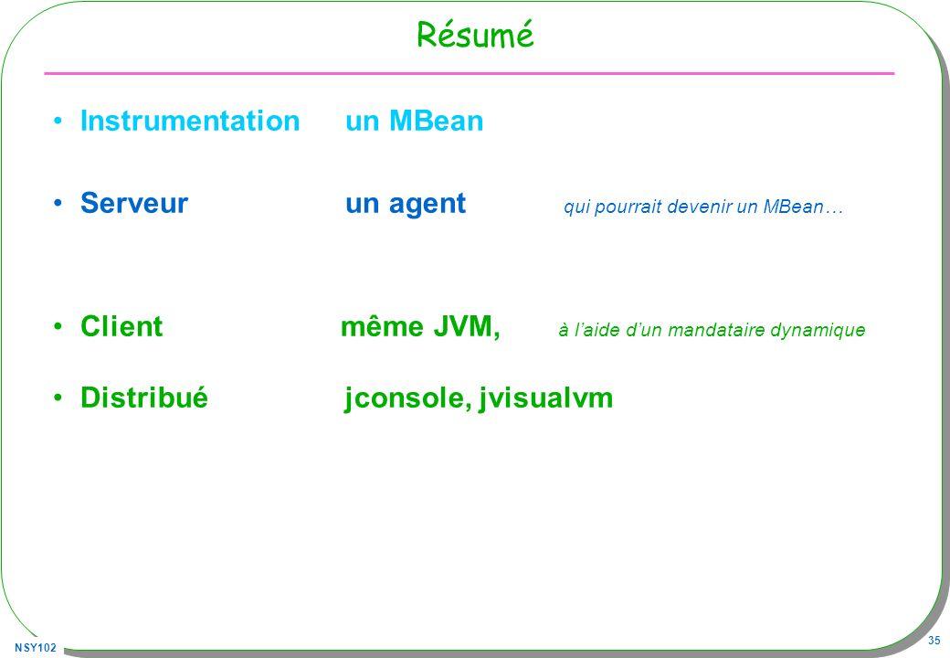 NSY102 35 Résumé Instrumentation un MBean Serveur un agent qui pourrait devenir un MBean… Client même JVM, à laide dun mandataire dynamique Distribué jconsole, jvisualvm