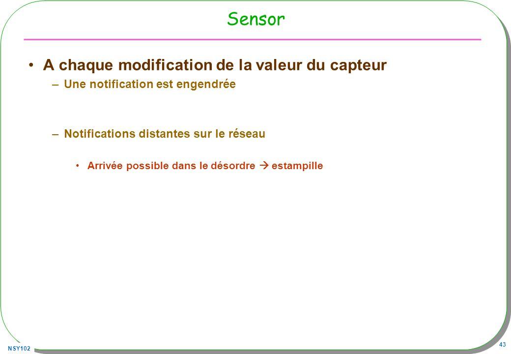 NSY102 43 Sensor A chaque modification de la valeur du capteur –Une notification est engendrée –Notifications distantes sur le réseau Arrivée possible dans le désordre estampille