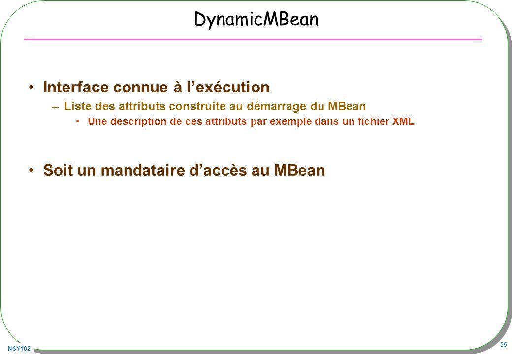 NSY102 55 DynamicMBean Interface connue à lexécution –Liste des attributs construite au démarrage du MBean Une description de ces attributs par exemple dans un fichier XML Soit un mandataire daccès au MBean