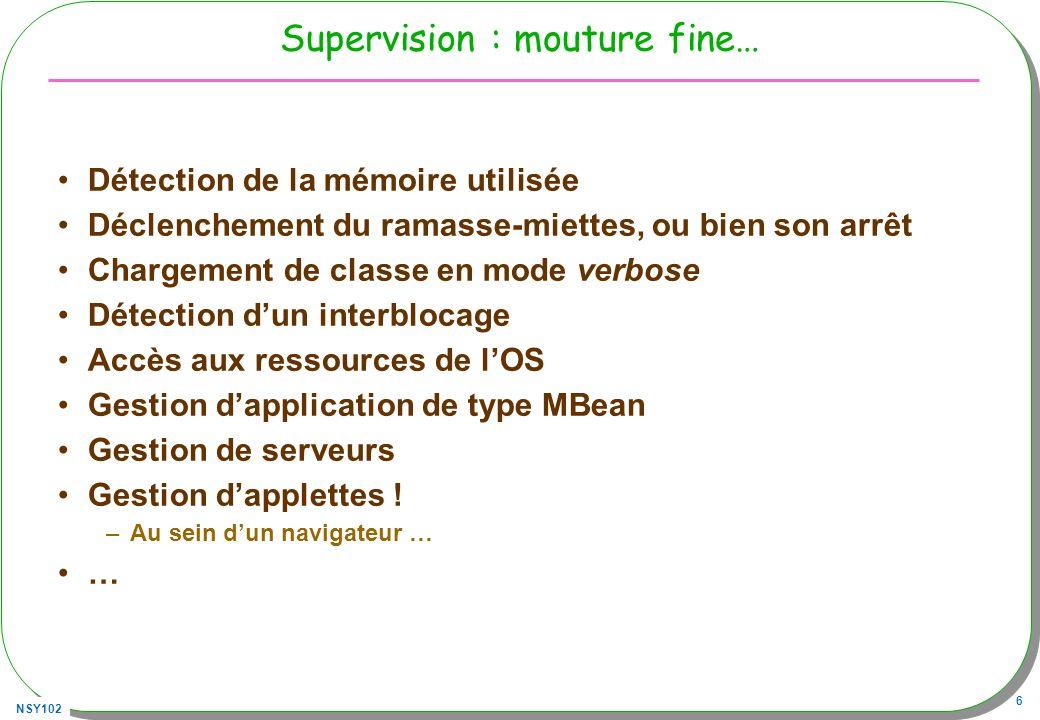 NSY102 87 Client, navigateur Sans oublier jdmkrt.jar –Bluej voir le répertoire lib/userlib/ ou./+libs/ –java -cp.;../JMX/jdmkrt.jar ThreadAgent