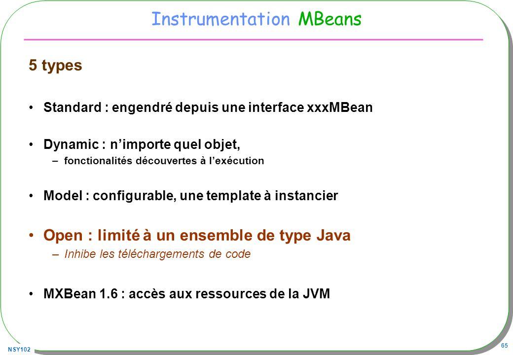 NSY102 65 Instrumentation MBeans 5 types Standard : engendré depuis une interface xxxMBean Dynamic : nimporte quel objet, –fonctionalités découvertes à lexécution Model : configurable, une template à instancier Open : limité à un ensemble de type Java –Inhibe les téléchargements de code MXBean 1.6 : accès aux ressources de la JVM