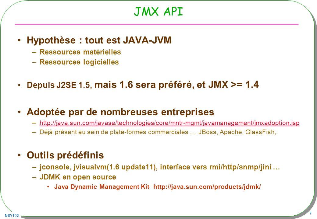 NSY102 7 JMX API Hypothèse : tout est JAVA-JVM –Ressources matérielles –Ressources logicielles Depuis J2SE 1.5, mais 1.6 sera préféré, et JMX >= 1.4 Adoptée par de nombreuses entreprises –http://java.sun.com/javase/technologies/core/mntr-mgmt/javamanagement/jmxadoption.jsphttp://java.sun.com/javase/technologies/core/mntr-mgmt/javamanagement/jmxadoption.jsp –Déjà présent au sein de plate-formes commerciales … JBoss, Apache, GlassFish, Outils prédéfinis –jconsole, jvisualvm(1.6 update11), interface vers rmi/http/snmp/jini … –JDMK en open source Java Dynamic Management Kit http://java.sun.com/products/jdmk/
