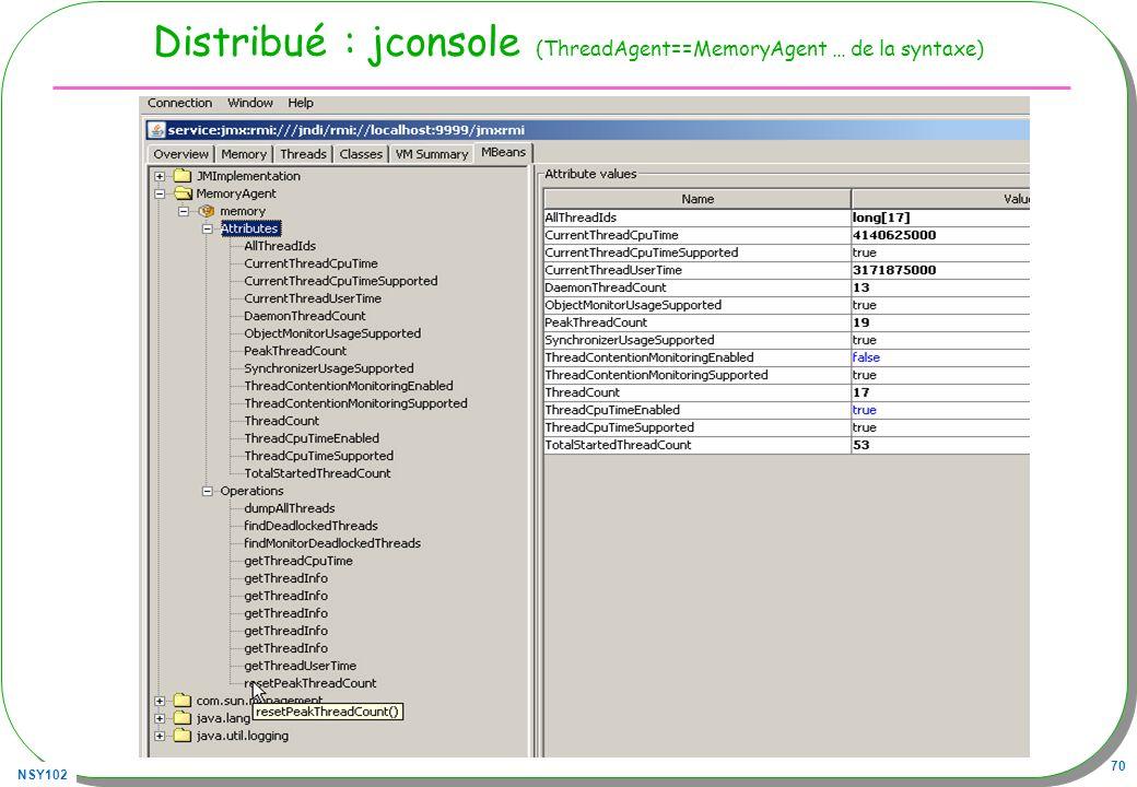 NSY102 70 Distribué : jconsole (ThreadAgent==MemoryAgent … de la syntaxe)