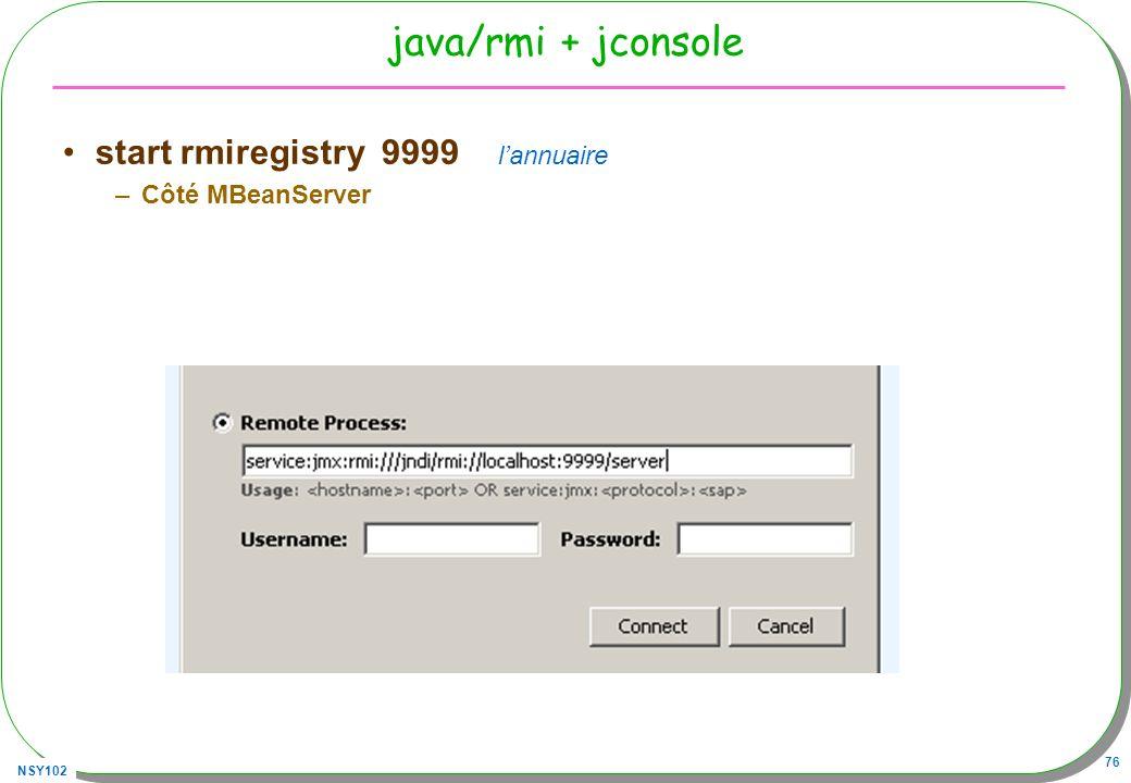 NSY102 76 java/rmi + jconsole start rmiregistry 9999 lannuaire –Côté MBeanServer
