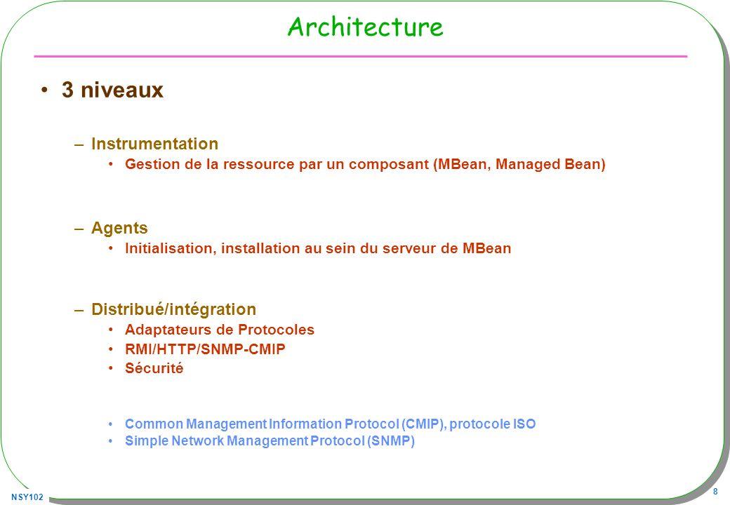 NSY102 8 Architecture 3 niveaux –Instrumentation Gestion de la ressource par un composant (MBean, Managed Bean) –Agents Initialisation, installation au sein du serveur de MBean –Distribué/intégration Adaptateurs de Protocoles RMI/HTTP/SNMP-CMIP Sécurité Common Management Information Protocol (CMIP), protocole ISO Simple Network Management Protocol (SNMP)