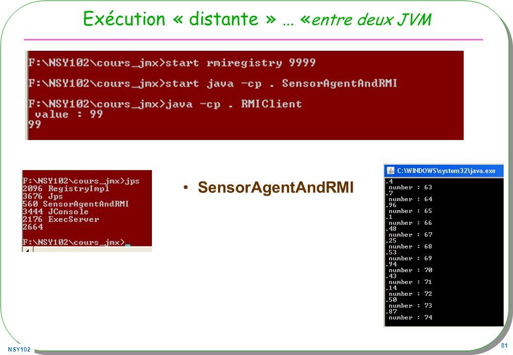 NSY102 81 Exécution « distante » … « entre deux JVM SensorAgentAndRMI