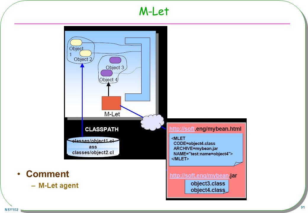 NSY102 91 M-Let Comment –M-Let agent