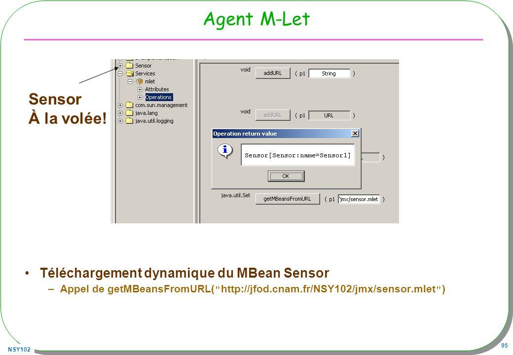 NSY102 95 Agent M-Let Téléchargement dynamique du MBean Sensor –Appel de getMBeansFromURL( http://jfod.cnam.fr/NSY102/jmx/sensor.mlet ) Sensor À la volée!
