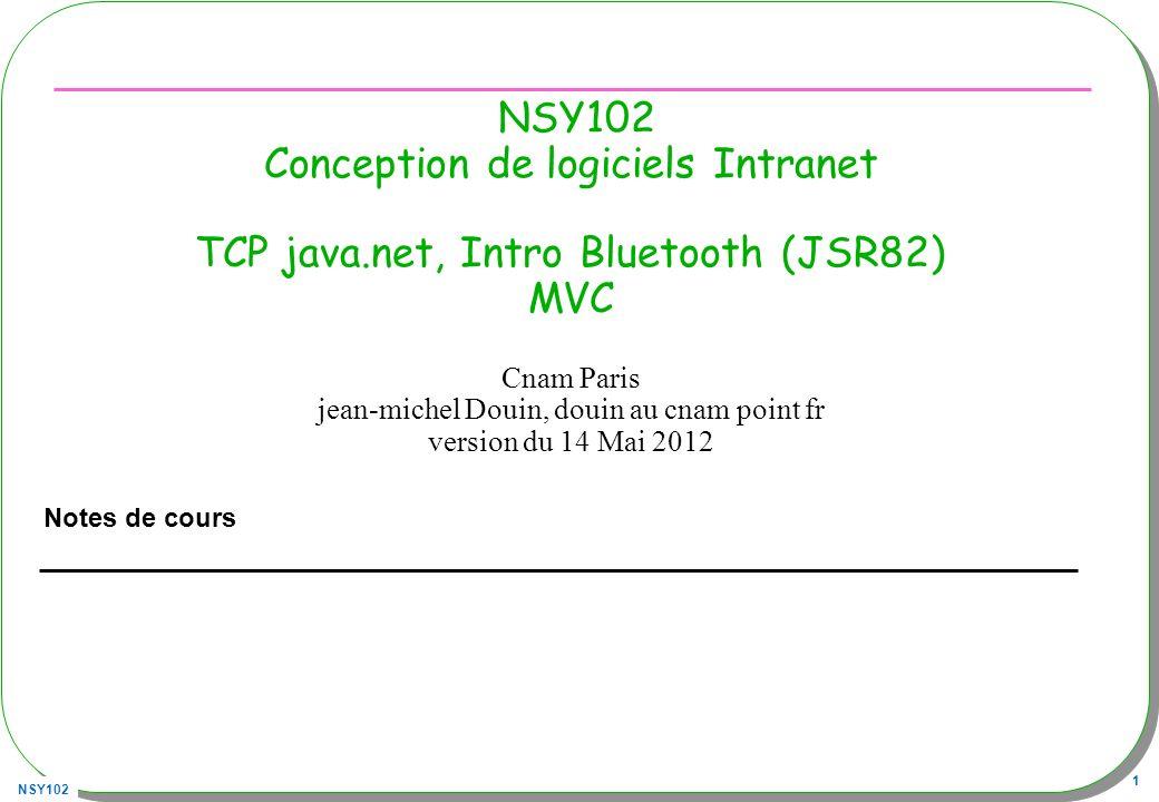 NSY102 32 Requête GET ou POST, Future, un schéma private static class Connexion implements Callable { … private Future future; private static ExecutorService executor; static{ executor = Executors.newSingleThreadExecutor();} public Connexion(String url, String parametres){ this.url = url; this.parametres = parametres.trim(); this.result = new String( ); this.future = executor.submit(this); } public String result(){ try{ return future.get(); }catch(Exception e){ return ; } public String call(){ try{ URL urlConnection = new URL(url); URLConnection connection = urlConnection.openConnection(); … }catch(Exception e){ this.result = ; } return result.toString(); } }