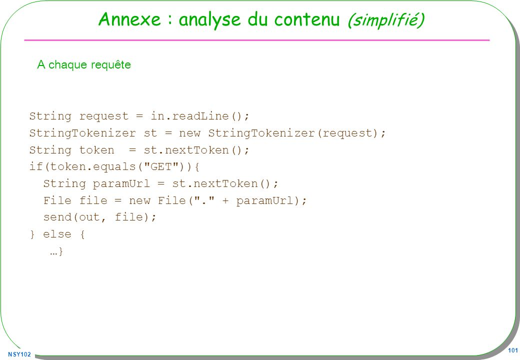 NSY102 101 Annexe : analyse du contenu (simplifié) A chaque requête String request = in.readLine(); StringTokenizer st = new StringTokenizer(request);