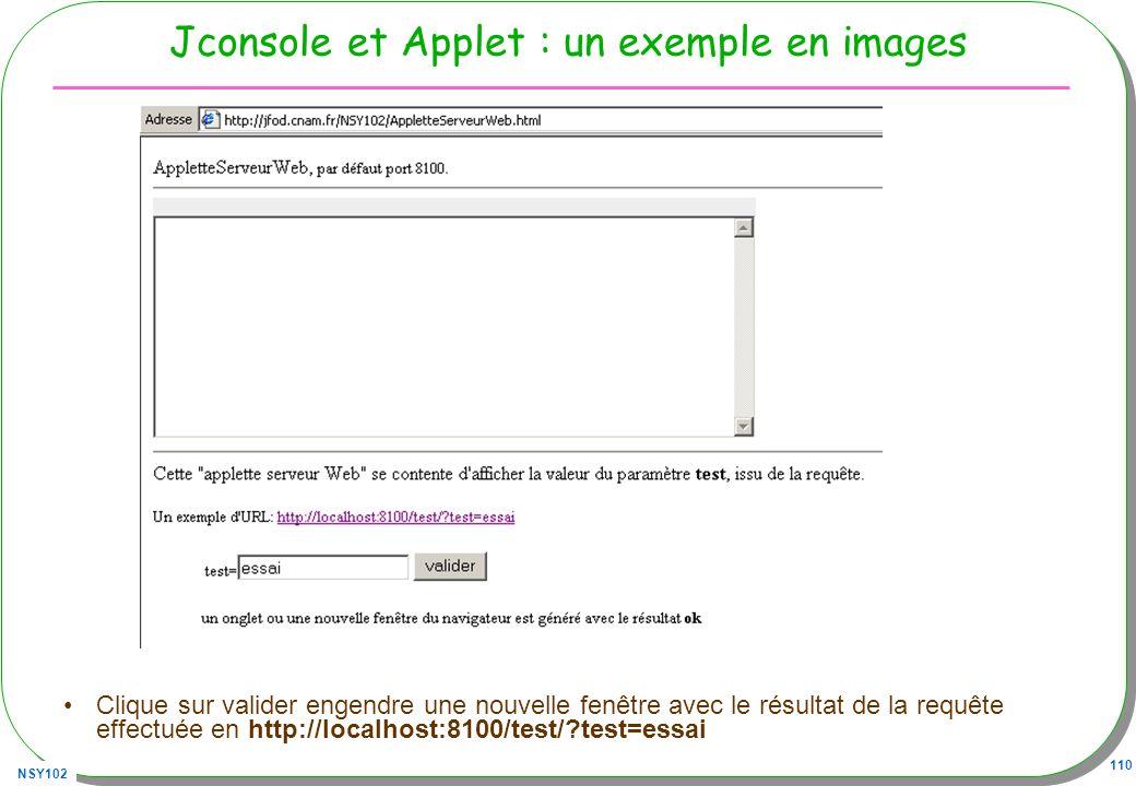 NSY102 110 Jconsole et Applet : un exemple en images Clique sur valider engendre une nouvelle fenêtre avec le résultat de la requête effectuée en http://localhost:8100/test/?test=essai