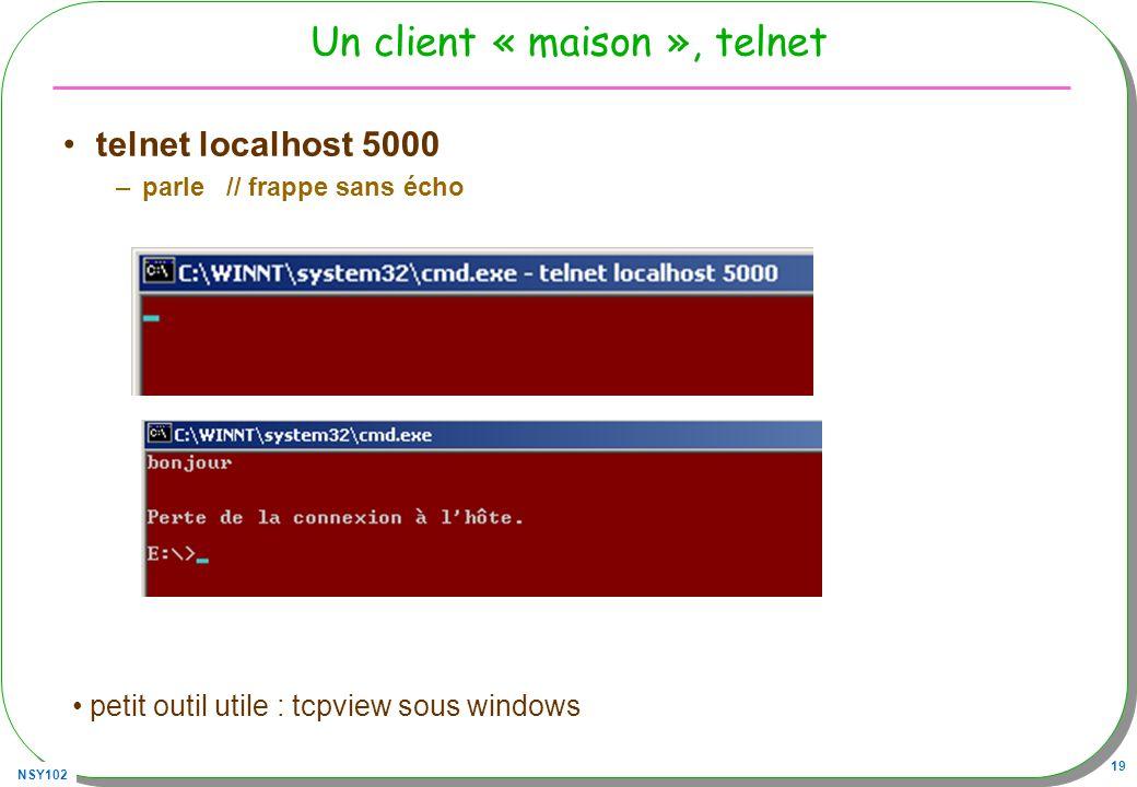 NSY102 19 Un client « maison », telnet telnet localhost 5000 –parle // frappe sans écho petit outil utile : tcpview sous windows
