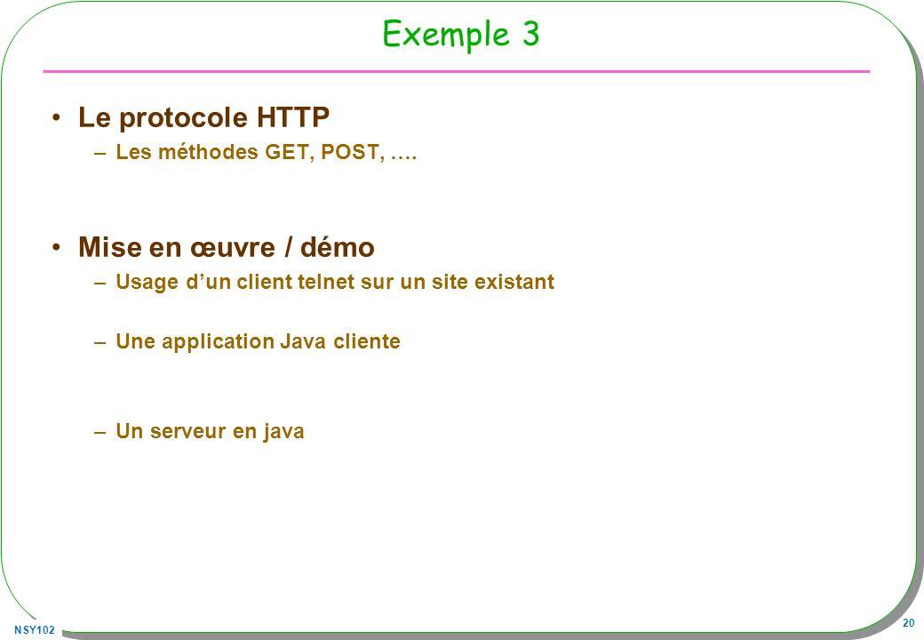 NSY102 20 Exemple 3 Le protocole HTTP –Les méthodes GET, POST, ….