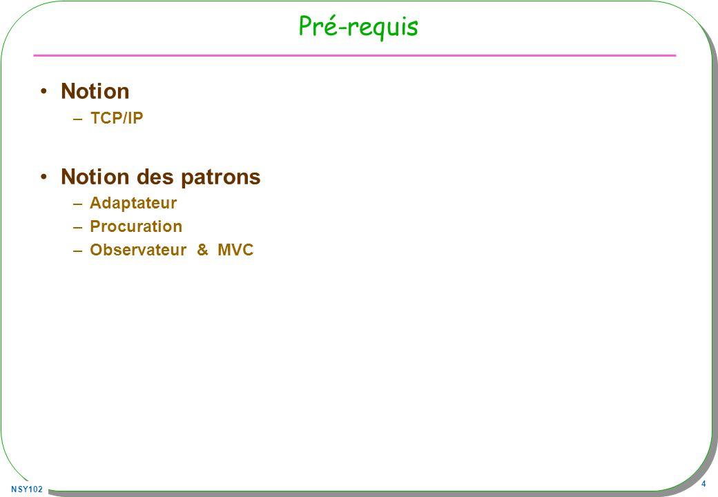 NSY102 55 JSR 82, prémisses javax.bluetooth.*; –Nommage, –Découverte –Recherche de services –Communication btspp://localhost:{UUID} + (flux habituels) http://java.sun.com/javame/reference/apis/jsr082/javax/bluetooth/package-summary.html http://www.jsr82.com http://www.bluecove.org/ Chaque périphérique BT possède une adresse (physique) sur 48 bits et unique –(MAC adresse) –Un nom lui est associé (en général)