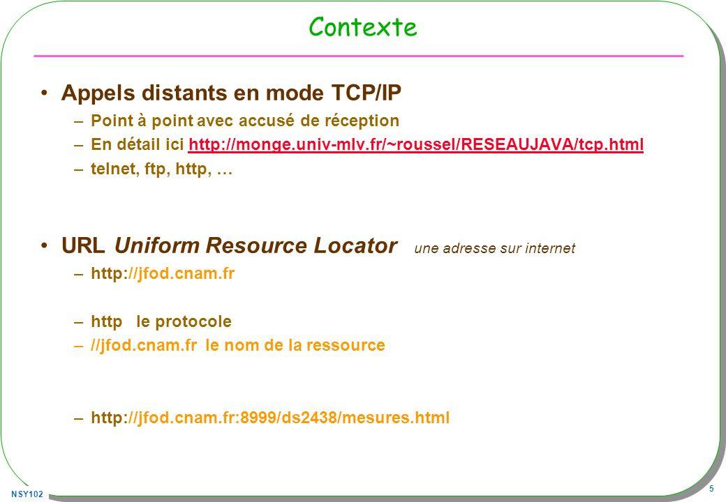 NSY102 26 Requête GET avec telnet Un client telnet et un site du Cnam –telnet jfod.cnam.fr 80 GET /index.html HTTP/1.0 ( frappe sans écho, ce nest pas un serveur telnet…) HTTP/1.0 200 OK Last-Modified: Thu, 08 Feb 2007 14:55:29 GMT Date: Thu, 08 Mar 2007 10:33:55 GMT Server: Brazil/1.0 Content-Length: 7624 Content-Type: text/html Connection: close …..