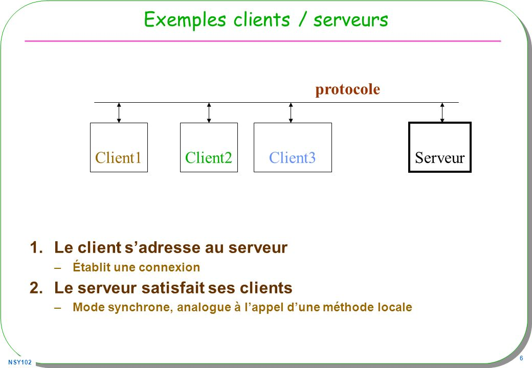 NSY102 17 Un serveur avec un protocole « maison » public class Serveur{ public static void main(String[] args) throws Exception{ ServerSocket serveur = new ServerSocket(5000); while(true) { Socket socket = serveur.accept(); BufferedReader in = new BufferedReader( new InputStreamReader(socket.getInputStream())); String cmd = in.readLine(); // parle !!.
