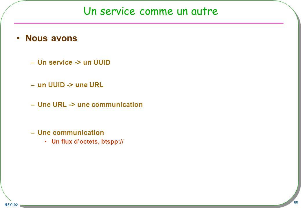 NSY102 60 Un service comme un autre Nous avons –Un service -> un UUID –un UUID -> une URL –Une URL -> une communication –Une communication Un flux doctets, btspp://
