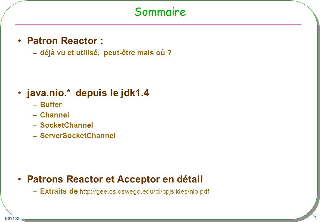 NSY102 67 Sommaire Patron Reactor : –déjà vu et utilisé, peut-être mais où .