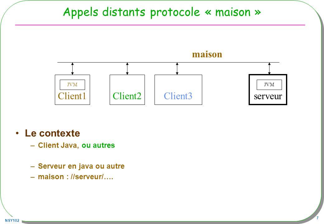 NSY102 18 Le client « maison » public class Client{ public static void main(String[] args) throws Exception{ Socket socket = new Socket( vivaldi.cnam.fr , 5000); DataOutputStream out= new DataOutputStream( socket.getOutputStream()); out.write(args[0].getBytes()); out.write( \n .getBytes()); BufferedReader in = new BufferedReader( new InputStreamReader(socket.getInputStream())); System.out.println(in.readLine()); socket.close(); }