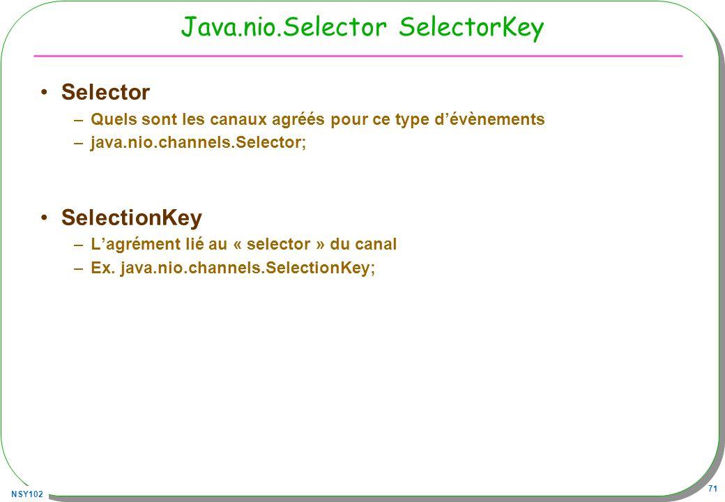 NSY102 71 Java.nio.Selector SelectorKey Selector –Quels sont les canaux agréés pour ce type dévènements –java.nio.channels.Selector; SelectionKey –Lagrément lié au « selector » du canal –Ex.