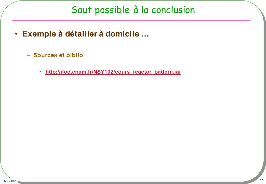 NSY102 72 Saut possible à la conclusion Exemple à détailler à domicile … –Sources et biblio http://jfod.cnam.fr/NSY102/cours_reactor_pattern.jar