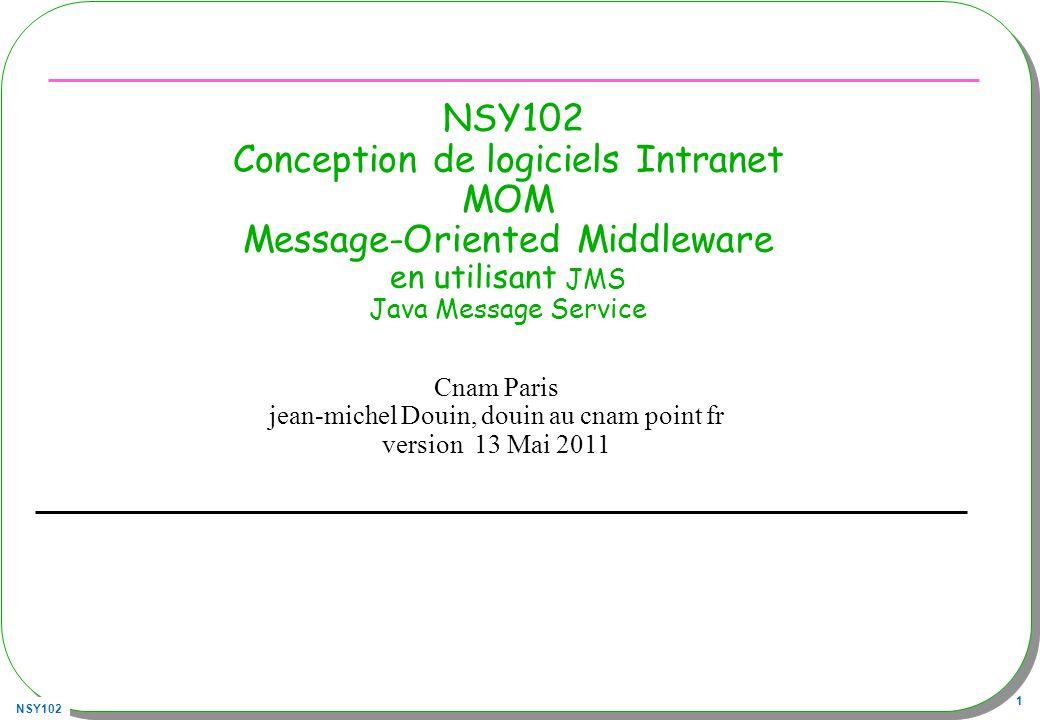 NSY102 82 Alternative à OpenJMS http://activemq.apache.org/index.html