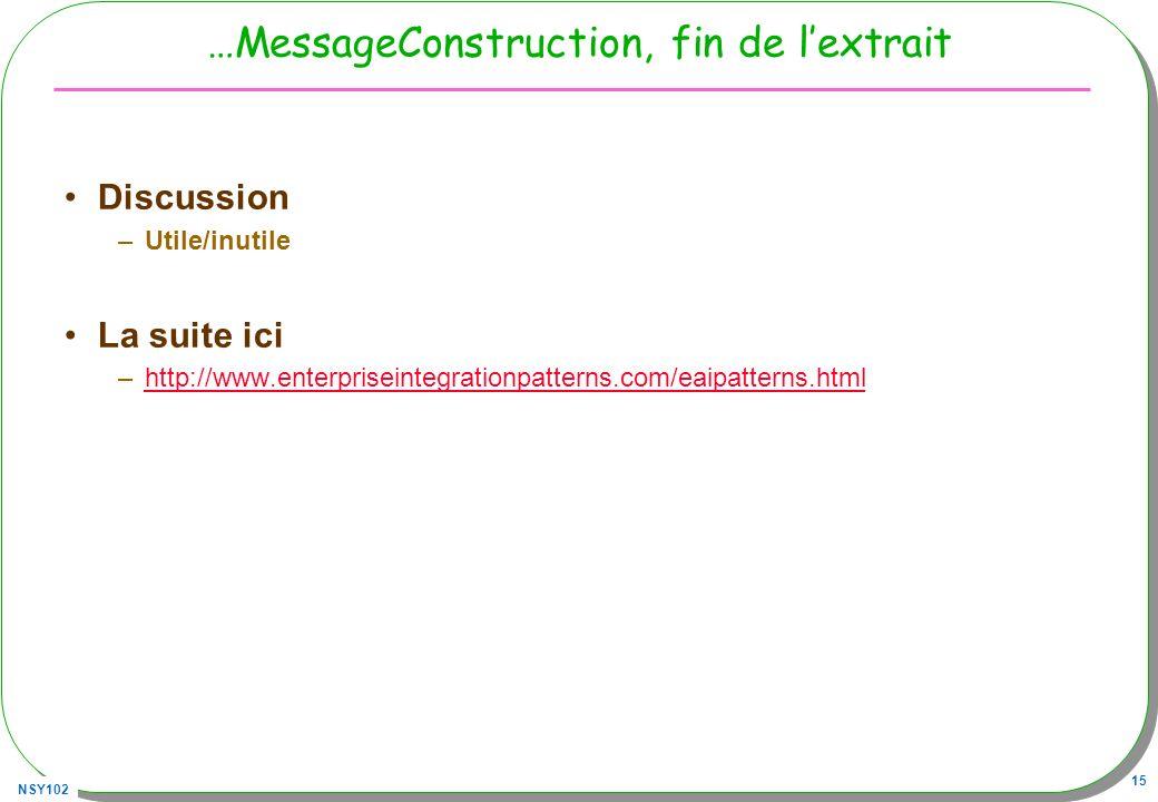NSY102 15 …MessageConstruction, fin de lextrait Discussion –Utile/inutile La suite ici –http://www.enterpriseintegrationpatterns.com/eaipatterns.htmlh