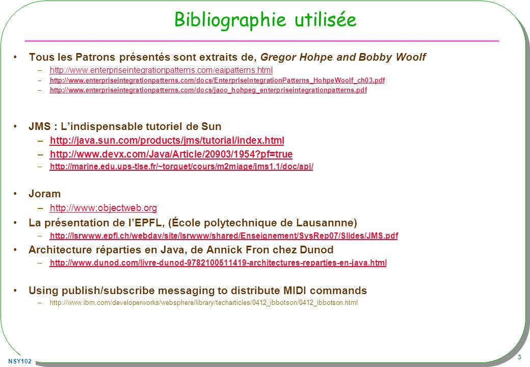 NSY102 64 Souscription avec filtrage (2) Même architecture TopicSubscriber subscriber; subscriber = session.createDurableSubscriber( topic, subscriptionName valeur >10 AND nom LIKE urgent% , true ); –Le booleén true inhibe les messages publiés au sein de la même connexion À vérifier avec OpenJMS …