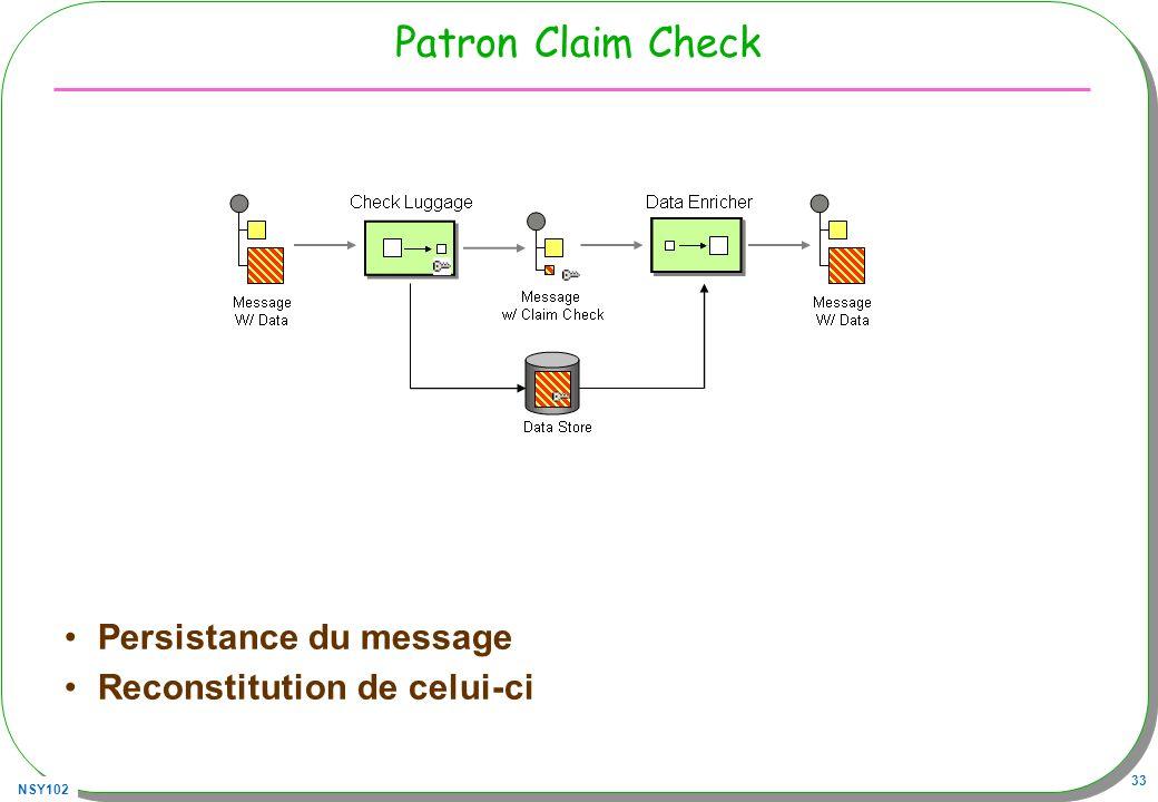 NSY102 33 Patron Claim Check Persistance du message Reconstitution de celui-ci