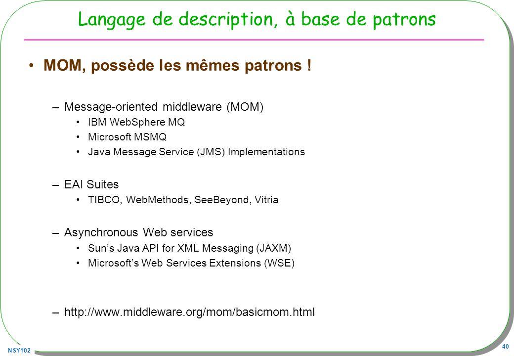 NSY102 40 Langage de description, à base de patrons MOM, possède les mêmes patrons ! –Message-oriented middleware (MOM) IBM WebSphere MQ Microsoft MSM