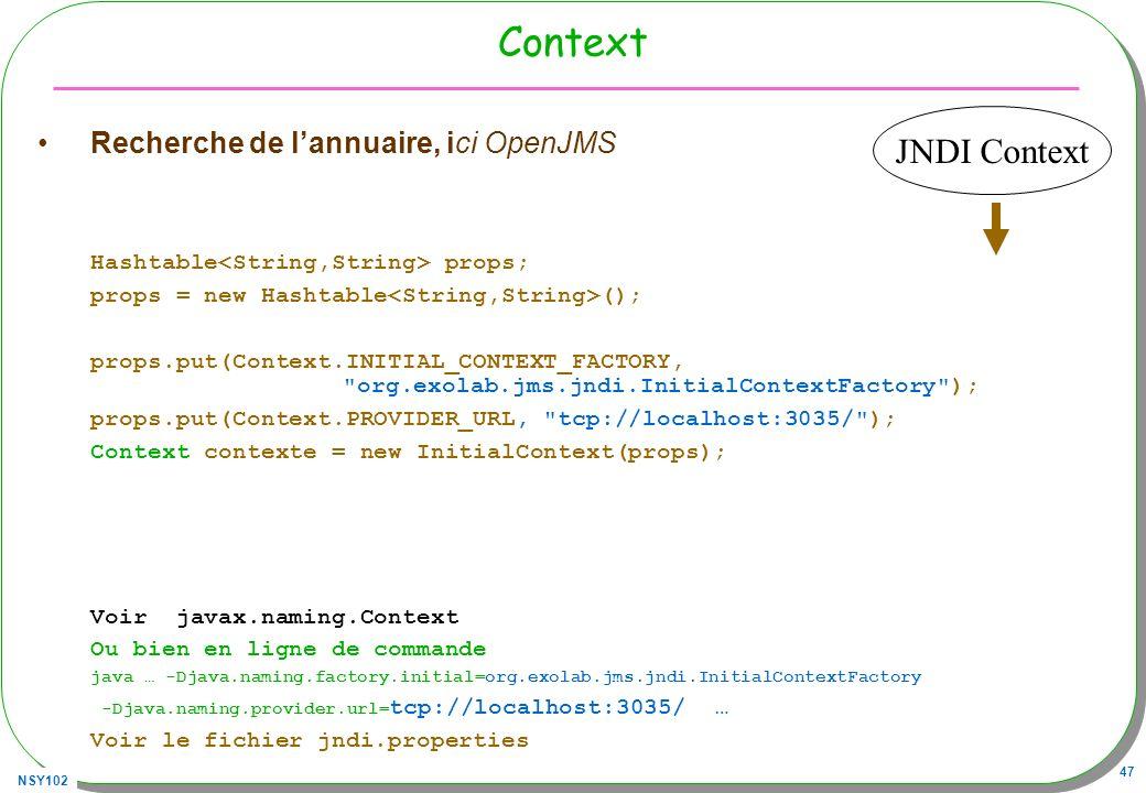 NSY102 47 Context Recherche de lannuaire, ici OpenJMS Hashtable props; props = new Hashtable (); props.put(Context.INITIAL_CONTEXT_FACTORY,