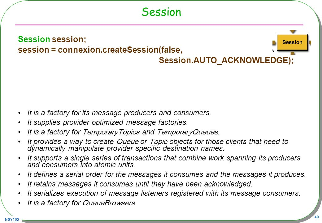 NSY102 49 Session Session session; session = connexion.createSession(false, Session.AUTO_ACKNOWLEDGE); It is a factory for its message producers and c